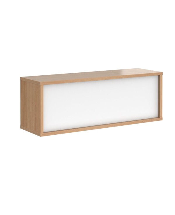 Denver reception straight top unit 1200mm - beech with white panels - Furniture