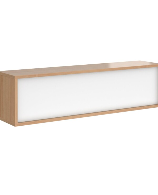 Denver reception straight top unit 1600mm - beech with white panels - Furniture