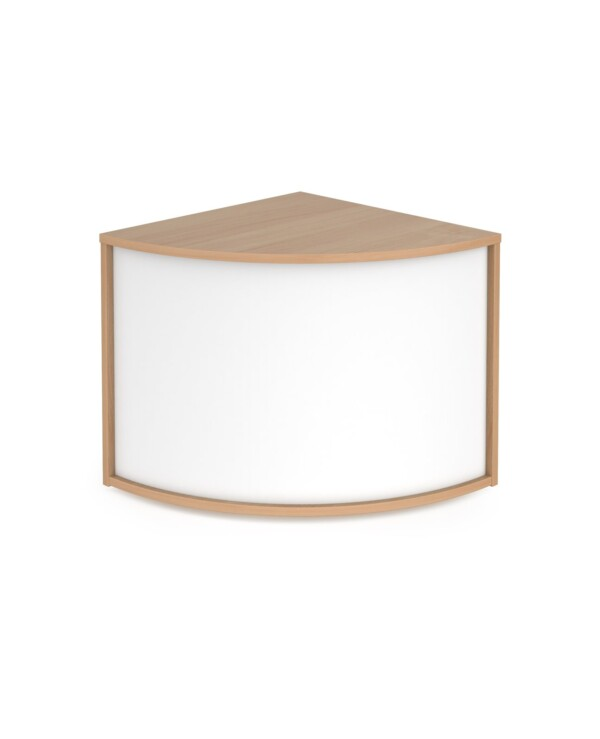 Denver reception 90� corner base unit 800mm - beech with white panels - Furniture
