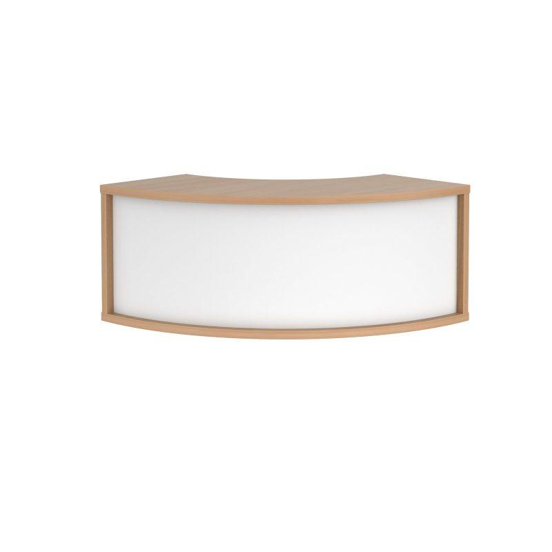 Denver reception 90� corner top unit 800mm - beech with white panels - Furniture