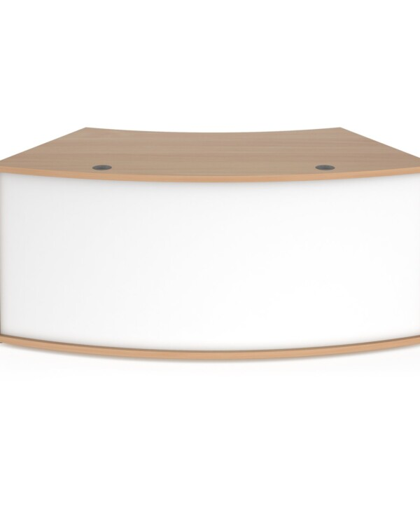 Denver reception 45� curved base unit 1800mm - beech with white panels - Furniture