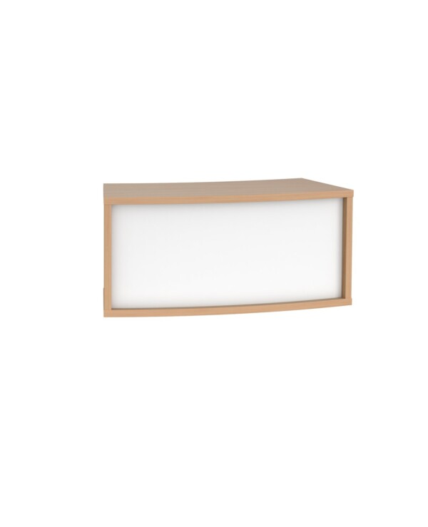 Denver reception 45� curved top unit 800mm - beech with white panels - Furniture