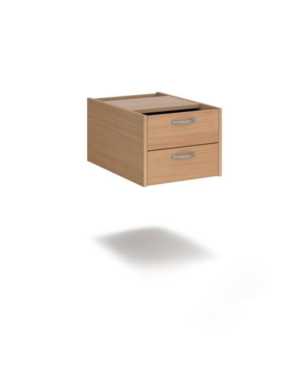 Maestro 25 shallow 2 drawer fixed pedestal for 600mm deep desks - beech - Furniture