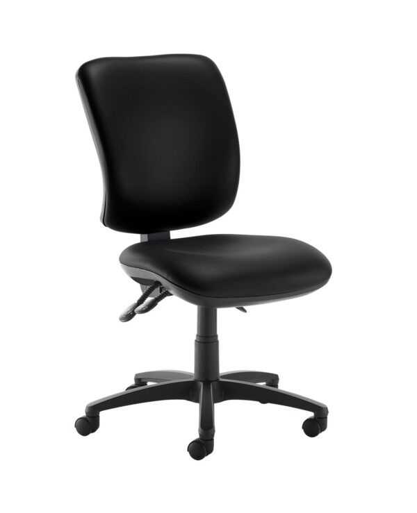 Senza high back operator chair with no arms - Nero Black vinyl - Furniture