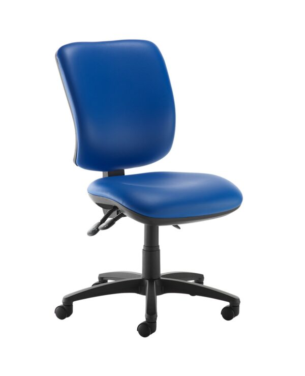 Senza high back operator chair with no arms - Ocean Blue vinyl - Furniture