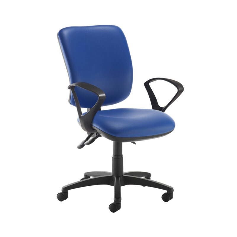 Senza high back operator chair with fixed arms - Ocean Blue vinyl - Furniture