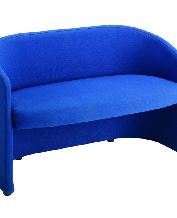 Slender fabric reception double 2 seater chair 1225mm wide - blue - Furniture