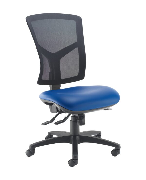 Senza high mesh back operator chair with no arms - Ocean Blue vinyl - Furniture