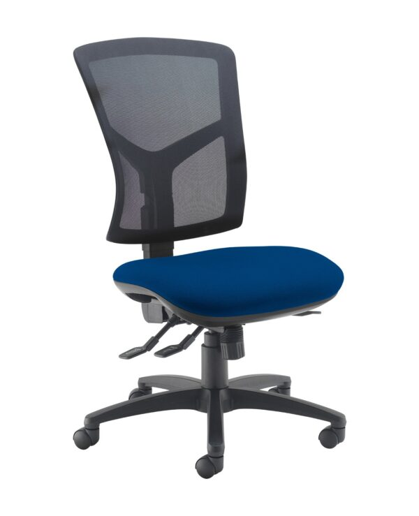 Senza high mesh back operator chair with no arms - Curacao Blue - Furniture