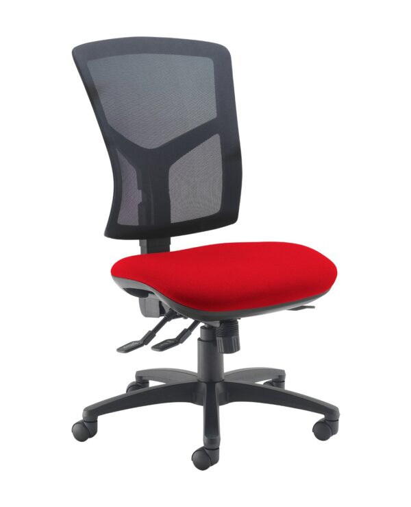 Senza high mesh back operator chair with no arms - Panama Red - Furniture