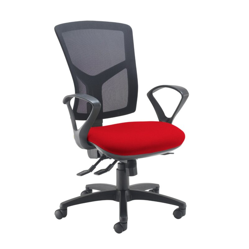 Senza high mesh back operator chair with fixed arms - Panama Red - Furniture