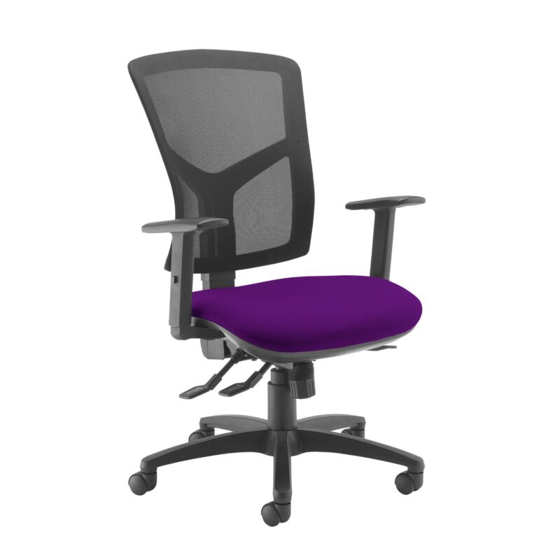 Senza high mesh back operator chair with adjustable arms - Tarot Purple - Furniture