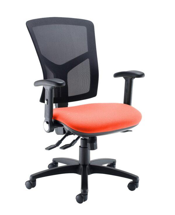 Senza high mesh back operator chair with folding arms - Tortuga Orange - Furniture