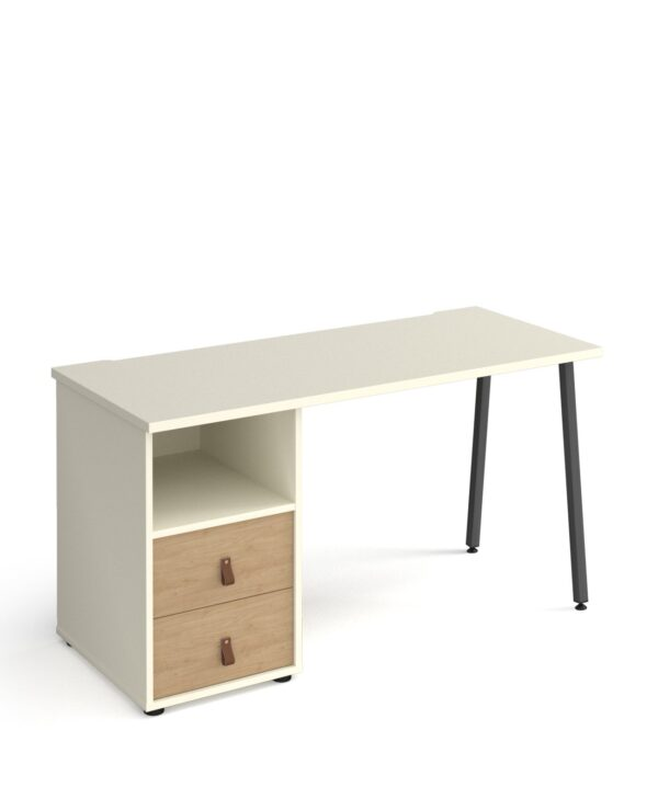 Sparta A-frame 600mm deep desk with support pedestal and drawers