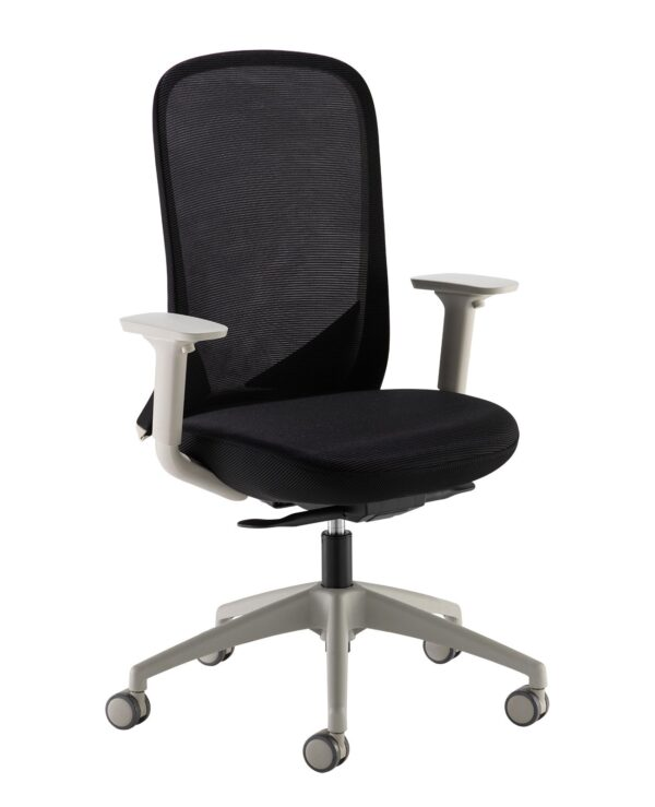 Sway black mesh back adjustable operator chair with black fabric seat, grey frame and base - Furniture
