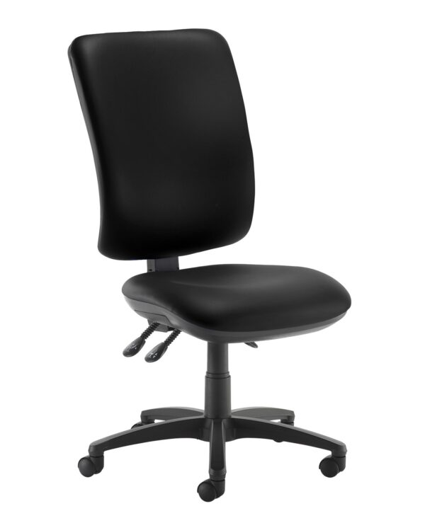 Senza extra high back operator chair with no arms - Nero Black vinyl - Furniture