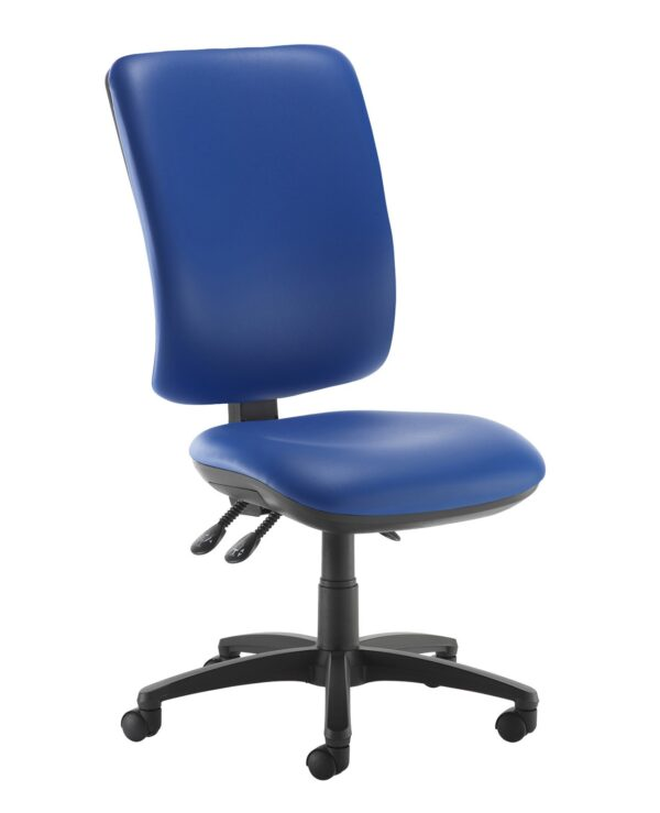 Senza extra high back operator chair with no arms - Ocean Blue vinyl - Furniture