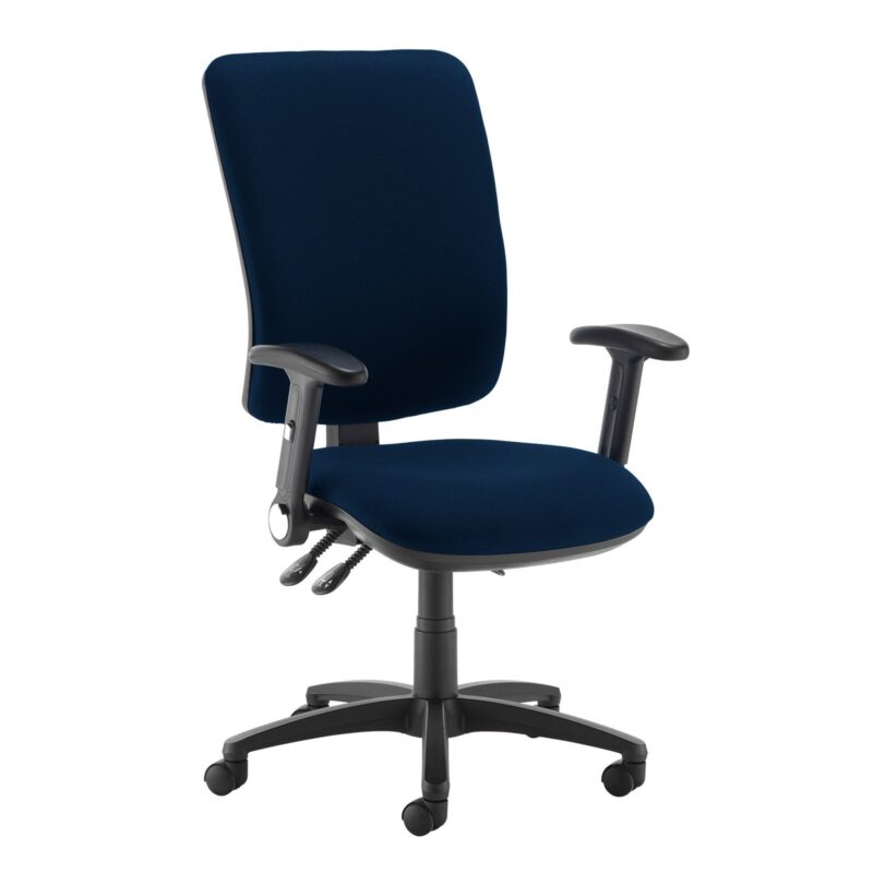 Senza extra high back operator chair with folding arms - Costa Blue - Furniture