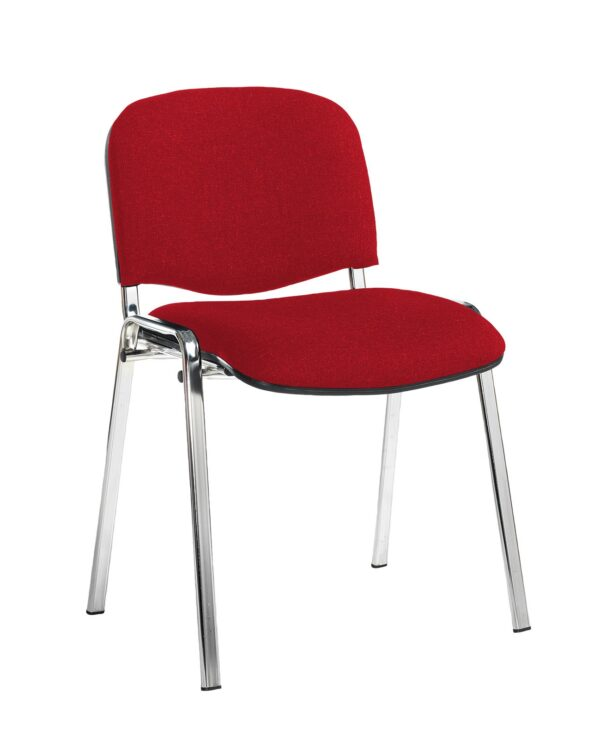 Taurus meeting room stackable chair with black frame and no arms - Belize Red - Furniture