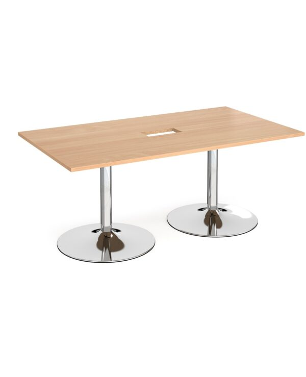 Trumpet base rectangular boardroom table 1800mm x 1000mm with central cutout 272mm x 132mm - chrome base, beech top - Furn...