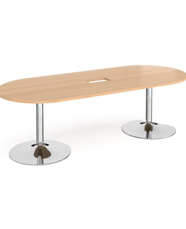 Trumpet base radial end boardroom table 2400mm x 1000mm with central cutout 272mm x 132mm - chrome base, beech top - Furni...