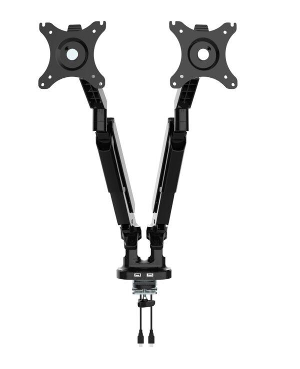 Triton gas lift space-saving double monitor arm - black - Furniture