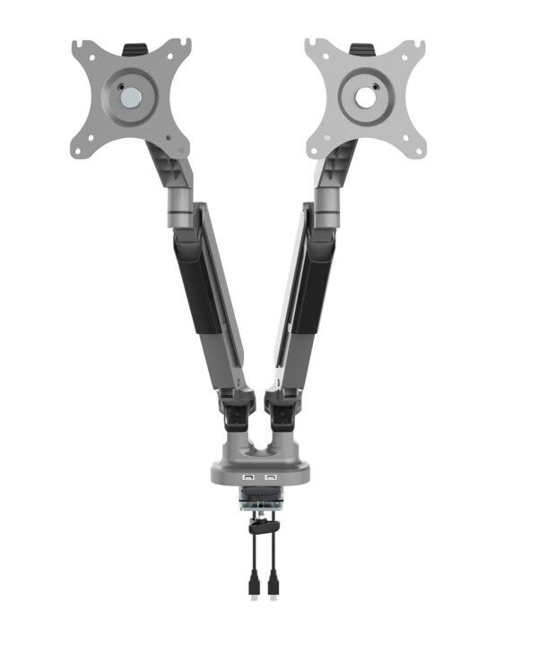 Triton gas lift space-saving double monitor arm - silver - Furniture