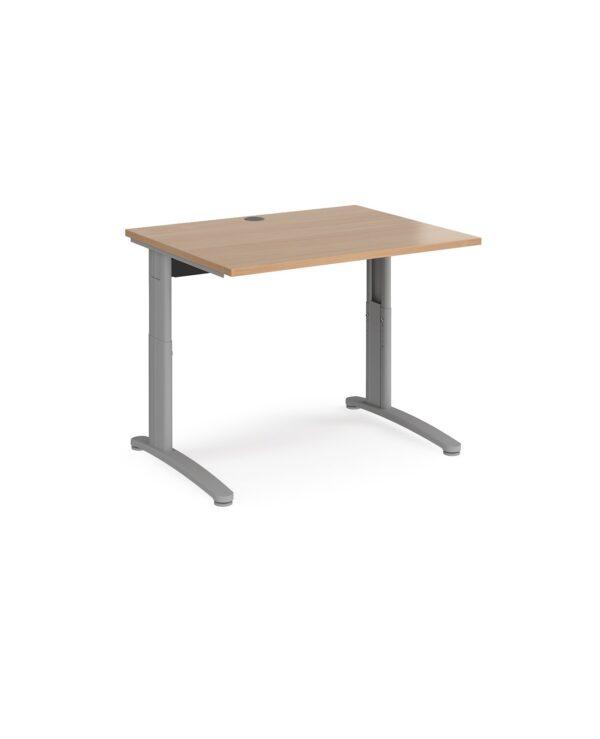 TR10 height settable straight desk 1000mm x 800mm - silver frame, beech top - Furniture