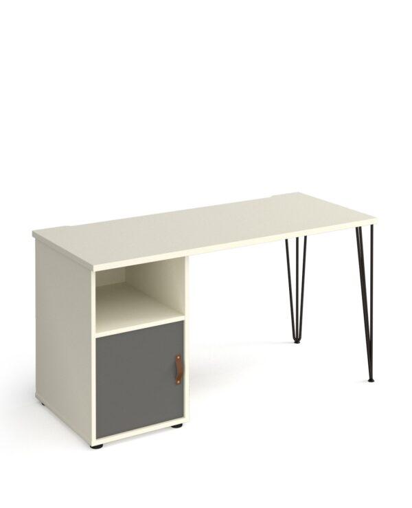 Tikal hairpin 600mm deep desk with support pedestal and cupboard door