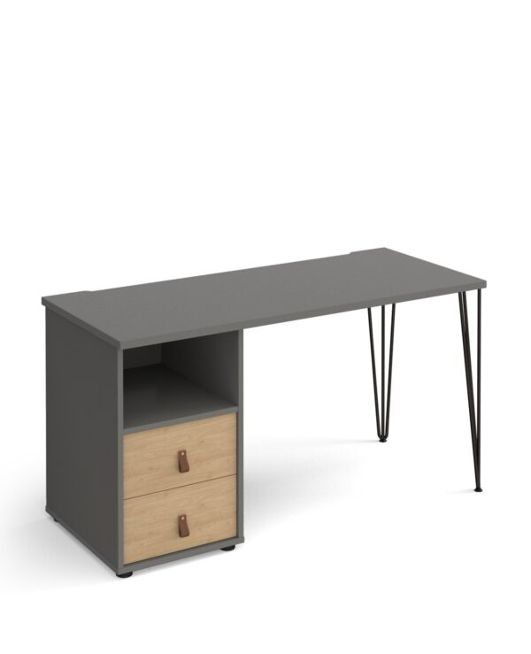 Tikal hairpin 600mm deep desk with support pedestal and drawers