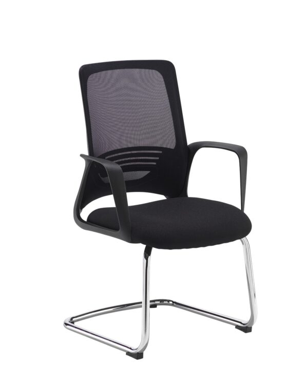 Toto black mesh back visitors chair with black fabric seat and chrome cantilever frame - Furniture