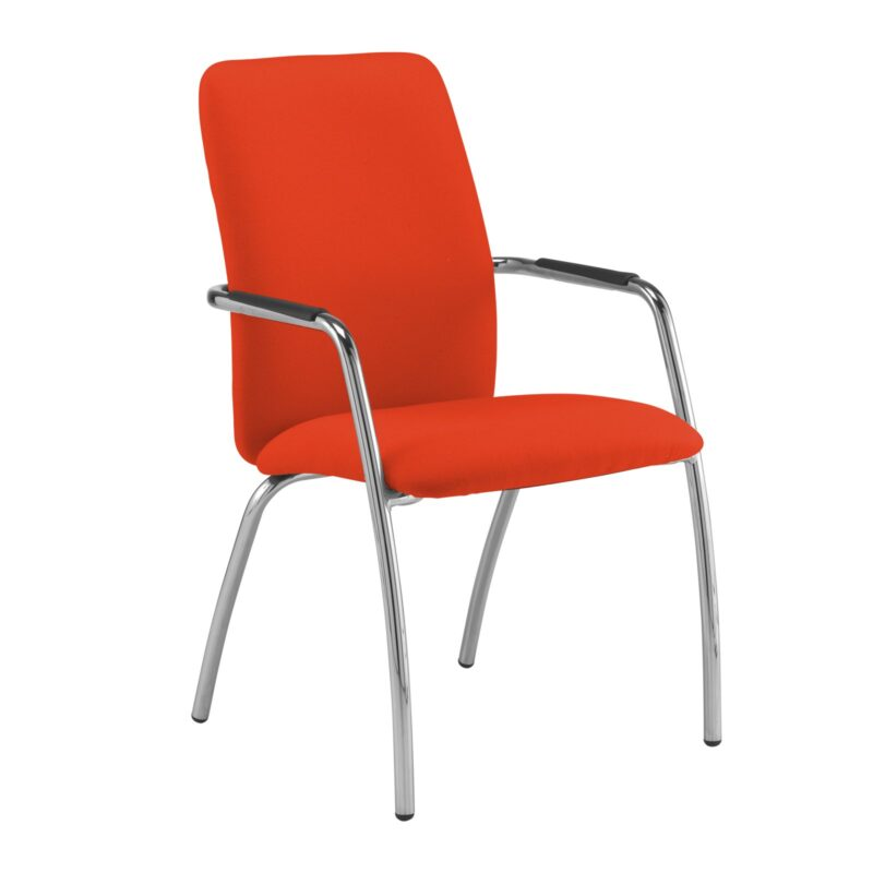 Tuba chrome 4 leg frame conference chair with fully upholstered back - Tortuga Orange - Furniture