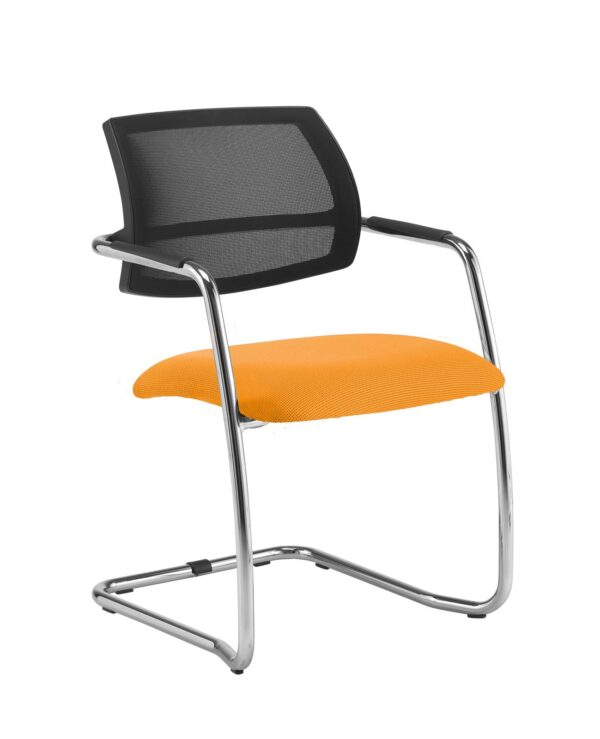 Tuba chrome cantilever frame conference chair with half mesh back - Solano Yellow - Furniture