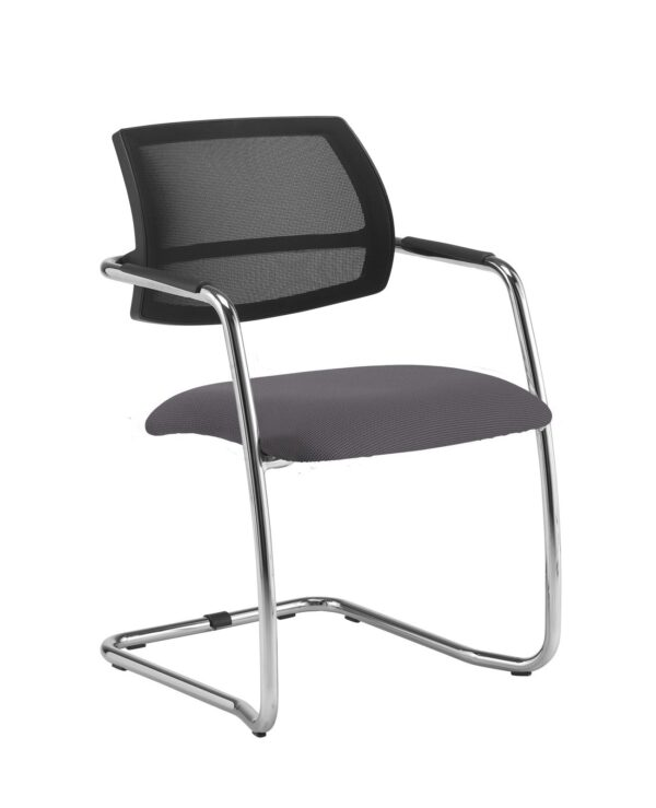 Tuba chrome cantilever frame conference chair with half mesh back - Blizzard Grey - Furniture