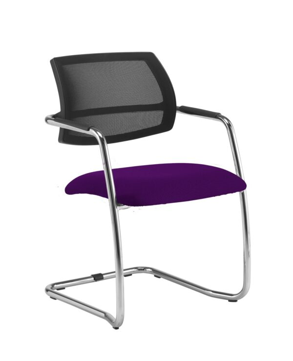 Tuba chrome cantilever frame conference chair with half mesh back - Tarot Purple - Furniture