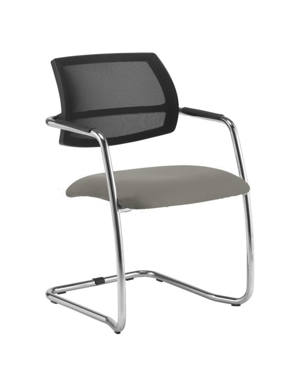 Tuba chrome cantilever frame conference chair with half mesh back - Slip Grey - Furniture