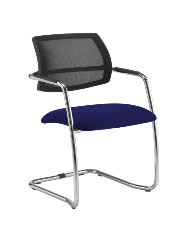 Tuba chrome cantilever frame conference chair with half mesh back - Ocean Blue - Furniture