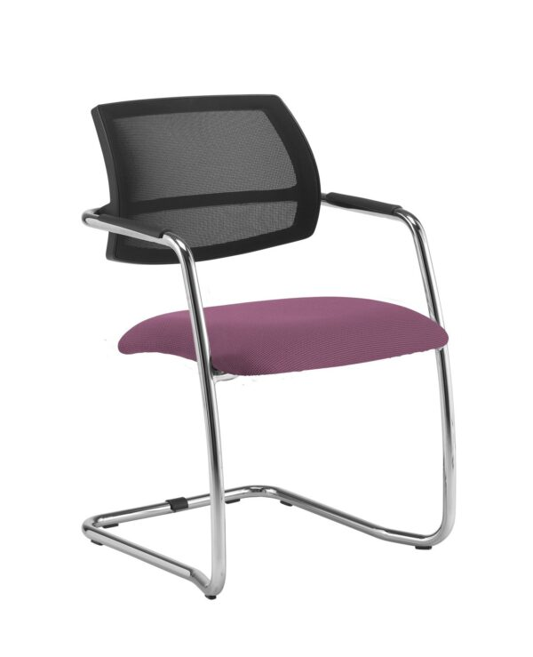 Tuba chrome cantilever frame conference chair with half mesh back - Bridgetown Purple - Furniture