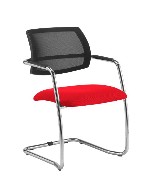 Tuba chrome cantilever frame conference chair with half mesh back - Belize Red - Furniture