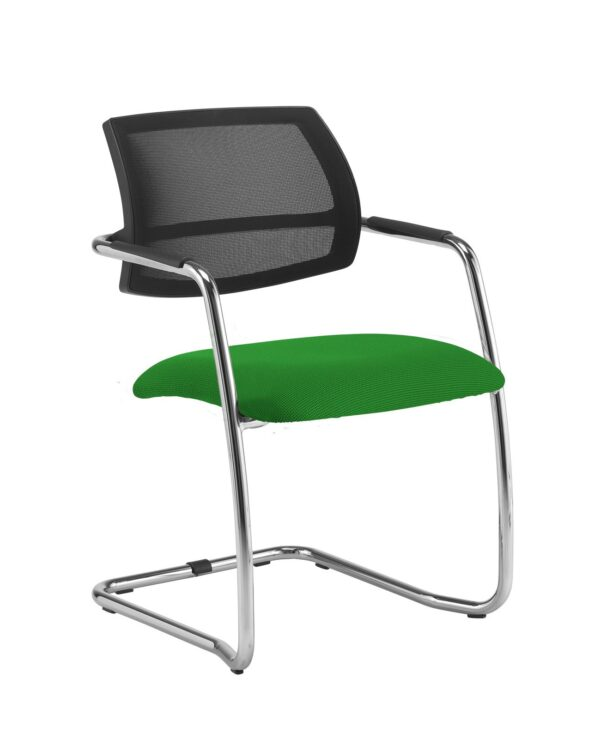 Tuba chrome cantilever frame conference chair with half mesh back - Lombok Green - Furniture