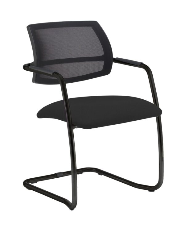 Tuba chrome cantilever frame conference chair with half mesh back - Havana Black - Furniture
