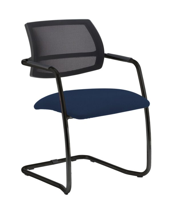 Tuba chrome cantilever frame conference chair with half mesh back - Costa Blue - Furniture