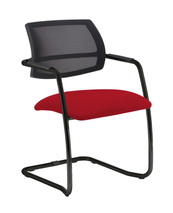 Tuba chrome cantilever frame conference chair with half mesh back - Panama Red - Furniture