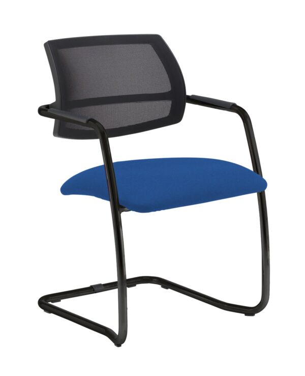 Tuba chrome cantilever frame conference chair with half mesh back - Scuba Blue - Furniture