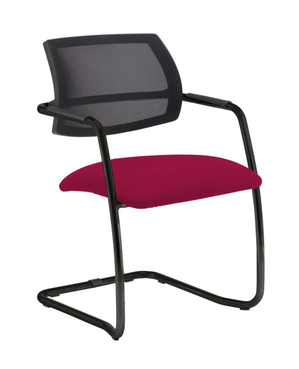 Tuba chrome cantilever frame conference chair with half mesh back - Diablo Pink - Furniture