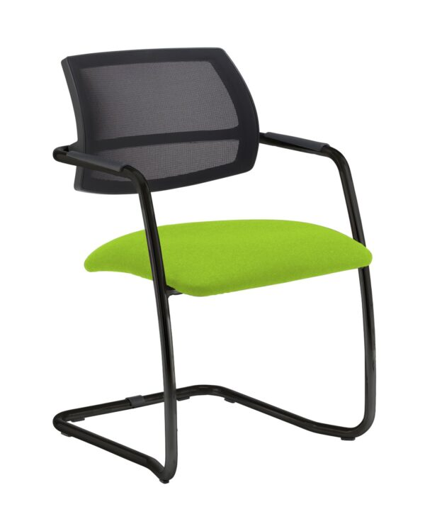 Tuba chrome cantilever frame conference chair with half mesh back - Madura Green - Furniture