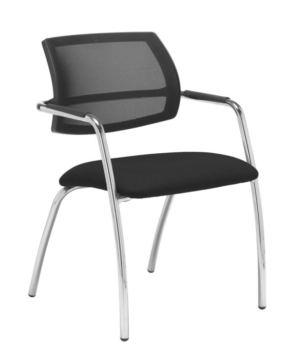 Tuba chrome 4 leg frame conference chair with half mesh back - Havana Black - Furniture