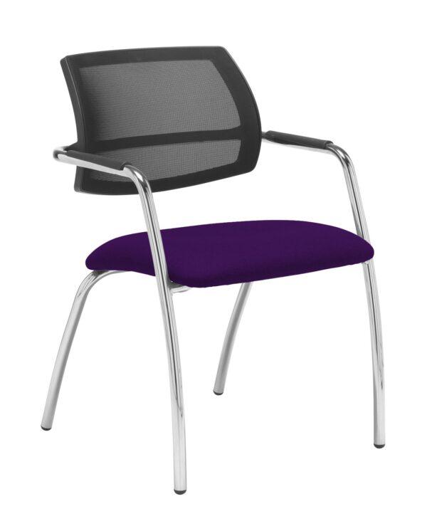 Tuba chrome 4 leg frame conference chair with half mesh back - Tarot Purple - Furniture