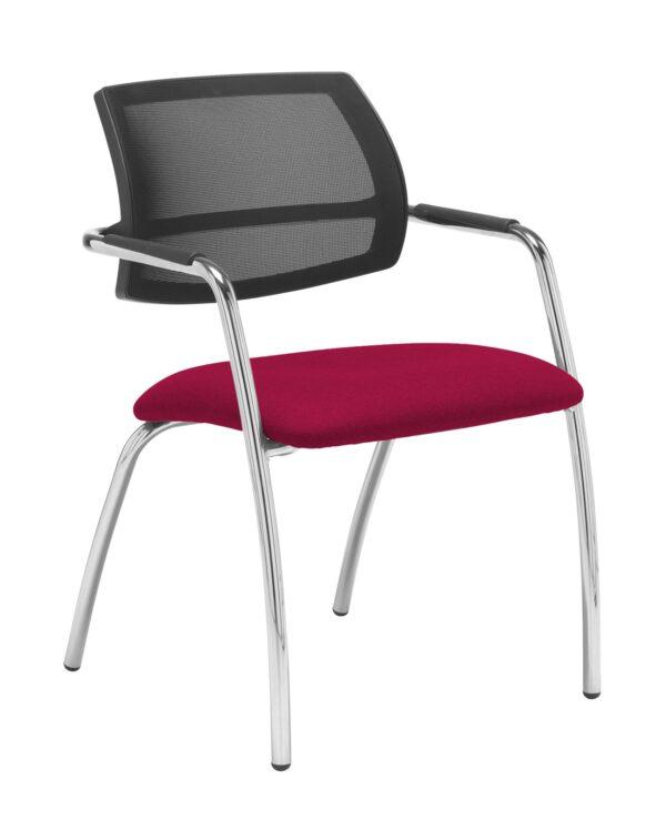 Tuba chrome 4 leg frame conference chair with half mesh back - Diablo Pink - Furniture