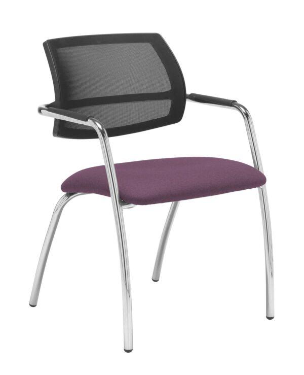 Tuba chrome 4 leg frame conference chair with half mesh back - Bridgetown Purple - Furniture